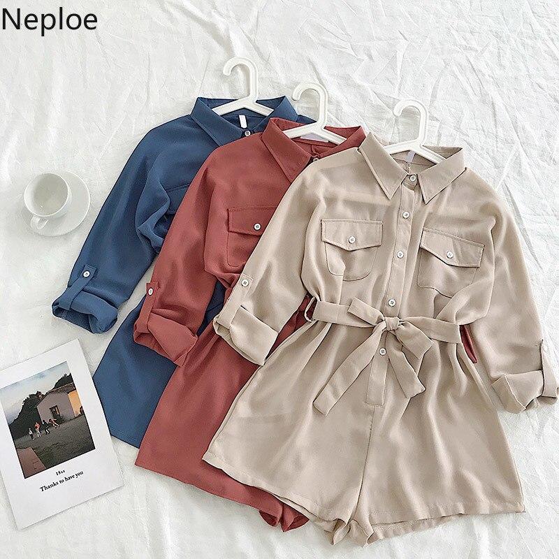 Nepole sólido botones bolsillos Mujer ropa suelta alta trajes de la cintura 2020 primavera otoño nuevo chic gasa corto bodysuits 42931