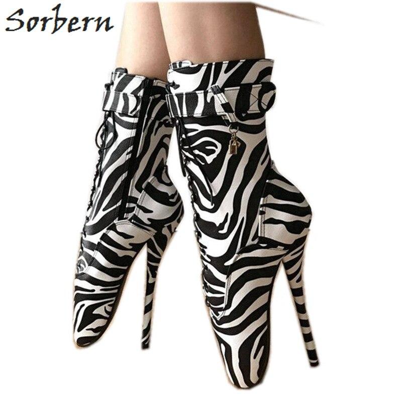 Sorbern, botines de cebra, zapatos de Ballet de tacón alto para mujer, bota Sm, zapato Sexy fetiche, 7 pulgadas, Unisex, Gay, con cordones, tacones, baile en barra