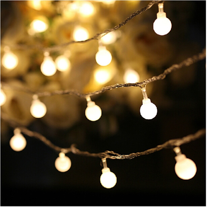 holiday lighting 5m 50led string light copper silver wire battery fairy christmas garland wedding party decoration outdoor 7.5M 50LED Fairy Christmas lights wedding decoration 3X AA Battery LED ball Garland string lights lighting holiday party lamps
