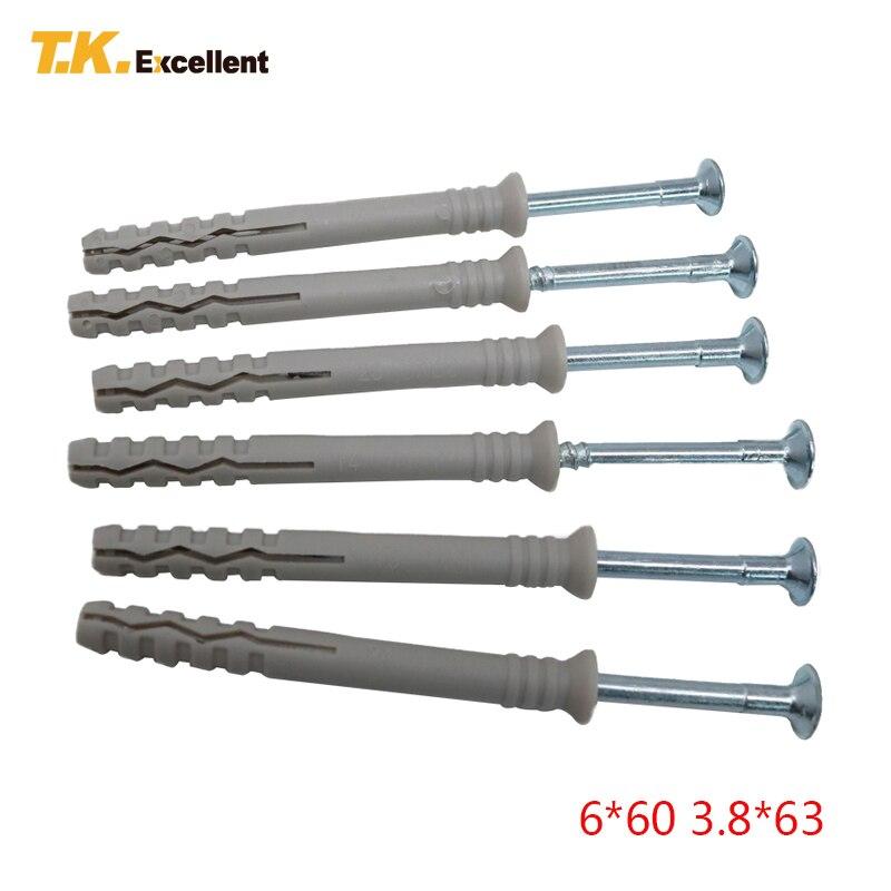 T.K. Excelente 30 Uds 6*60 tubo de expansión de clavo de golpe de anclaje soportes decorativos de anclaje de martillo para Material completo con tornillo