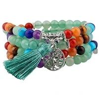 natural 7 chakra multi layer yoga charms bracelets women purple quartz 108 mala beads meditation healing tassel