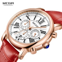 Megir 24 heures affichage chronographe analogique montre à Quartz pour dame fille femmes mode étanche rouge bracelet en cuir montre-bracelet