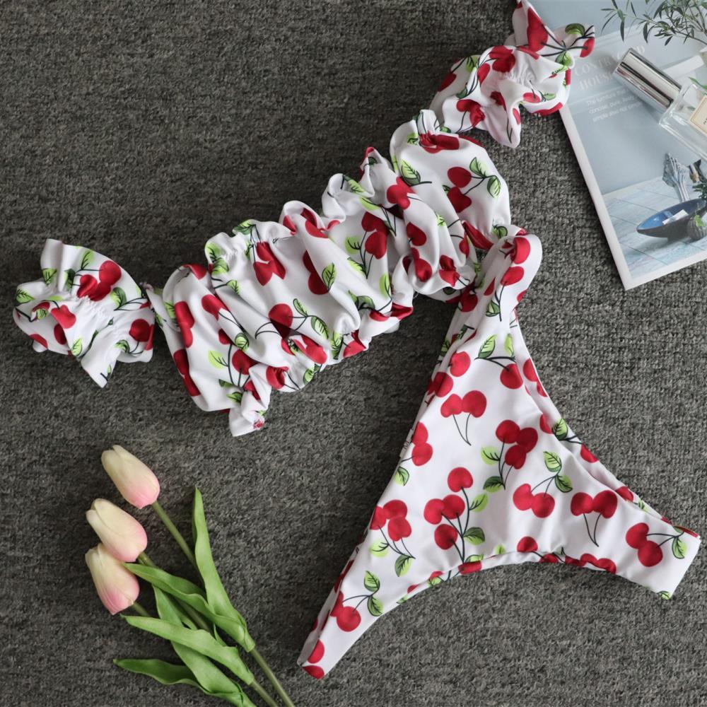 Conjunto de biquíni sensual feminino, roupa de banho com estampa de cereja, moda praia, manga curta, 2019