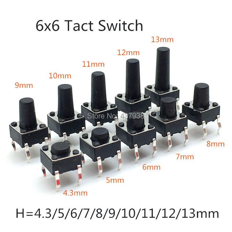 6x6mm Panel PCB táctil momentáneo tacto Mini botón interruptor DIP 4pin 6x6x4. 3/5/6/7/8/9/11/12/13MM 6*6*6*6*4,3 MM 5MM 6MM 7 MM-13 MM
