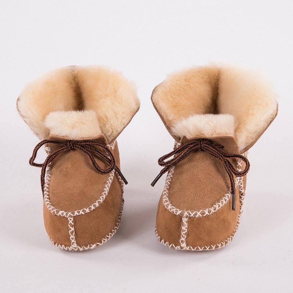 Chaussures en fourrure pour bébés garçons   Chaussures en cuir véritable, fourrure pour bébés garçons et filles, mocassins souples en peluche, nouvelle collection