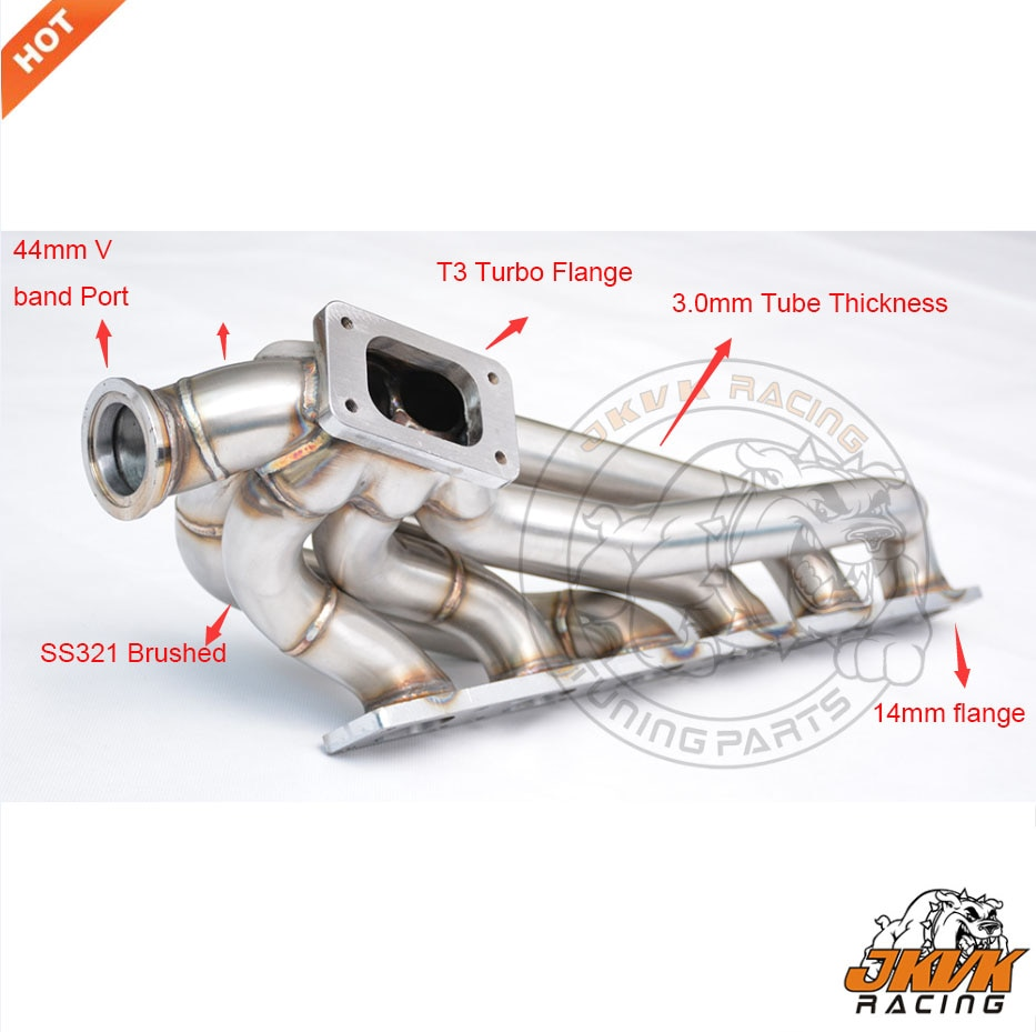 JKVK RACING 3,0mm de espesor igual longitud TURBO HEADER se adapta a E36 T3 montaje superior Turbo colector M50 M52 S50 S52 1992-1998