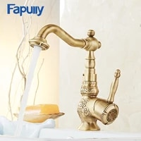 fapully bathroom faucet water tap antique style brass single handle hot and clod water basin faucet mixer 566 11tb