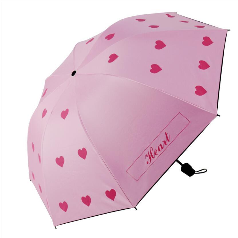 Paraguas con diseño de corazón rosa para mujer, Sombrilla Plegable con diseño...