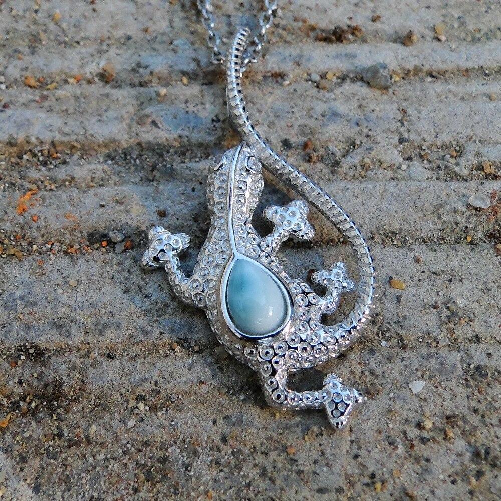 Natural Larimar 925 Sterling Silver Pendant lizard Larimar Gemstone Pendant Necklace for Women Man Gift