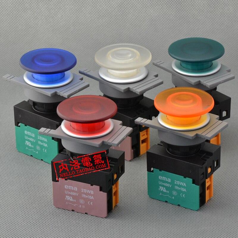 [SA]EMA 30mm illuminated pushbutton switch E3P4 * .M0 self-resetting DC6 / 12 / 24V mushroom head 1NO / 1NC--10pcs/lot