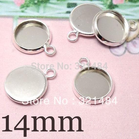 Wholesale Bulk 1000pcs Silver plated Transverse hole Earring Drop Bracelet Charm Pendant Base Blank 14mm Cap Cabochon Setting