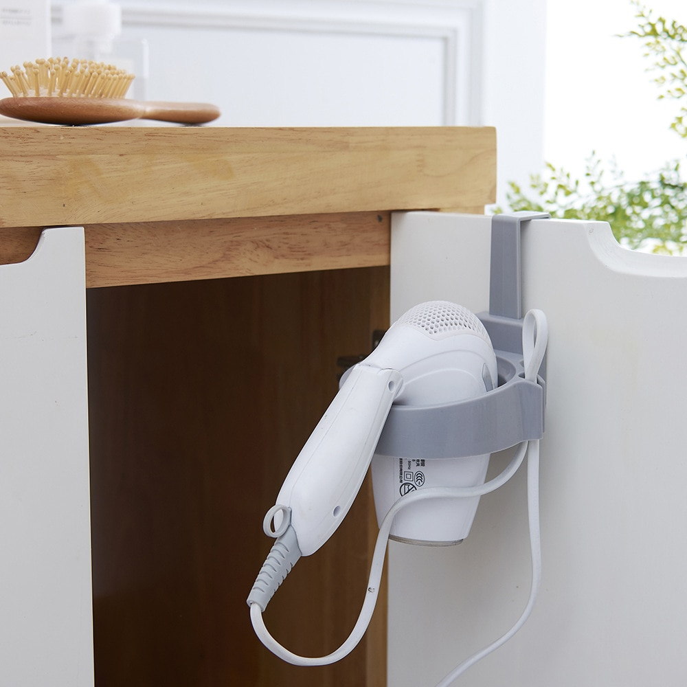Bathroom Hair Dryer Stand Organizer shelf Storage Hairdryer Rack Holder Door Hook Ring Plastic For Home Hotel Dormitory 2018