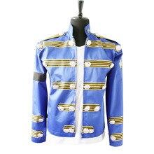 Rare mode MJ Michael Jackson hommes angleterre veste similaire militaire Punk rétro bleu bouton Casaul Halloween Outwear en 1995 s