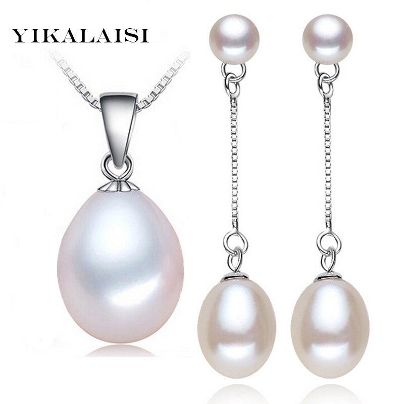 Conjuntos de perlas de agua dulce naturales YIKALAISI 2017 100% colgante, pendientes de gota de alta calidad 925 joyería de plata esterlina mejores regalos