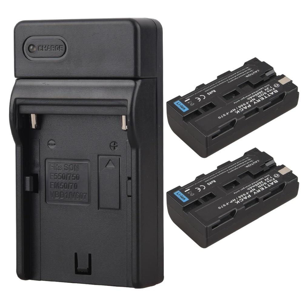 2pcs 2600mah NP-F550 NP-F570 Rechargeable Digital Batterias + Wall Charger For Sony NP F550 F570 NPF550 NPF570 Camera Battery