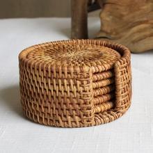 Rattan kubek zestaw podstawek Pot Pad maty stołowe 6 rozmiary Porta Copos podkładki dekoracji wnętrz w stylu Vintage bambusa ręcznie