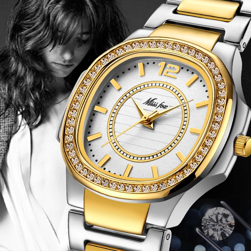 MISSFOX Best-Seller Watches Dropshipping New 2020 Hot Selling Cost Glitter Watch Bling Hodinky Golden Woman Arabic Number Watch enlarge