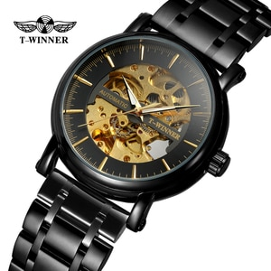 T-Winner топовый бренд, винтажные автоматические часы с скелетом для мужчин, стимпанк циферблат, высококлассный браслет из нержавеющей стали, н...