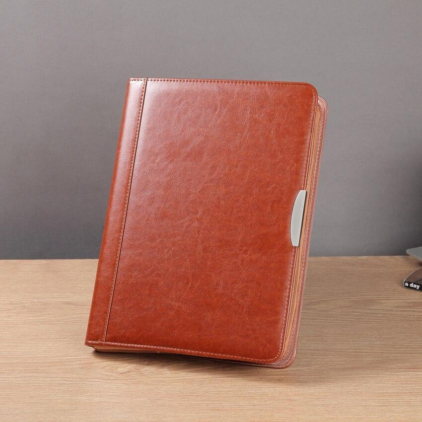 A4 carpeta de documentos de negocios de cuero con cremallera bolsa de gerente acuerdo de conferencia maletín padfolio espiral organizador de informes 448B