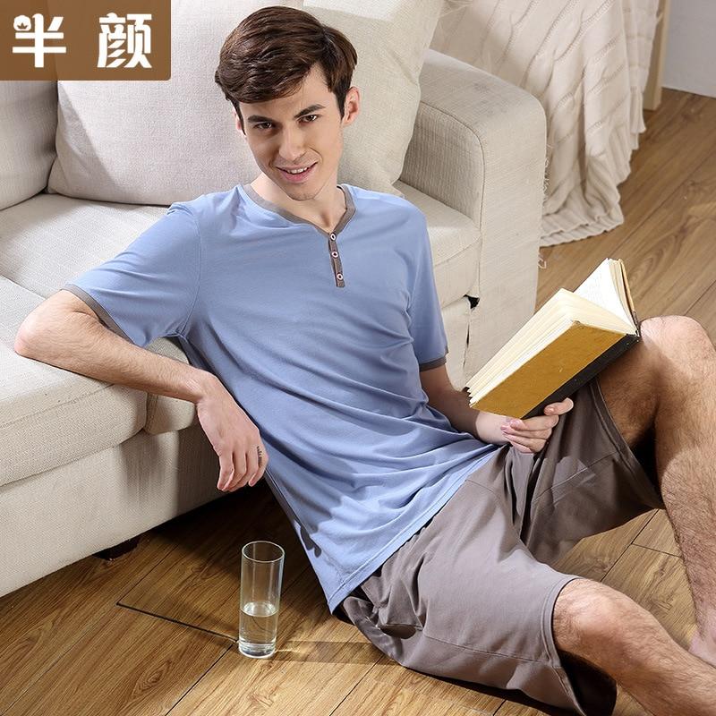 Pijamas dos Homens do Verão de Manga Conjuntos de Pijama de Algodão l para 3xl Curta Dormirwear Homens Salão Sólida Tamanho