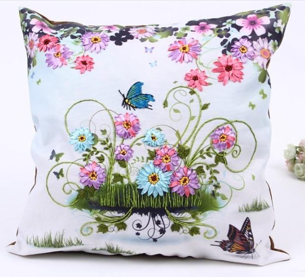 45x45cm 3D flowers Ribbon embroidery pillow cushion cover core inner insert pillowcase set handcraft DIY handmade needlework