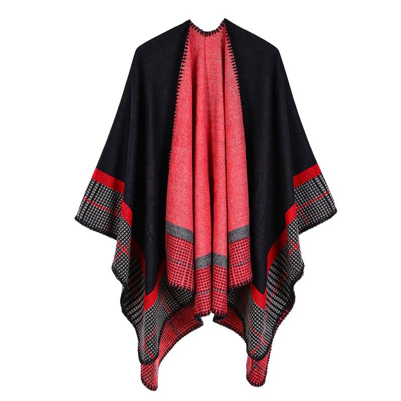 FXFURS, Poncho de Otoño Invierno para mujer, bufanda étnica, manta con estampado de moda, carves, chal de punto para mujer, capa con borlas, Pashmina gruesa