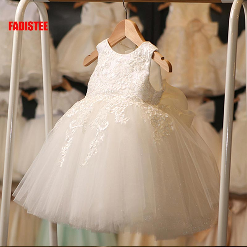 FADISTEE New Arrival ivory Tulle Pretty Flower Girl Dresses soft lace Baby Girl Infant lace Dress Kids Formal Wear lace 2019