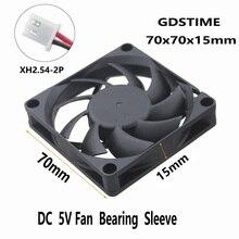 1 Piece Gdstime DC 5V 7cm Brushless Motor Cooling Fan 70x70x15mm 2Pin 7015 PC Case Cooler 70mm x 15mm