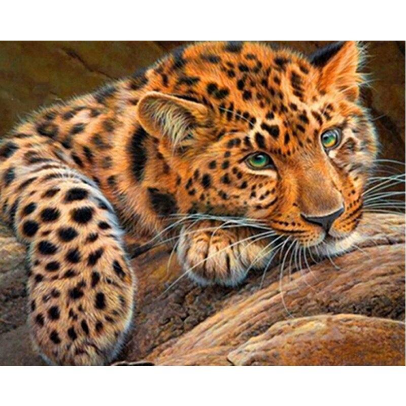 Pintura de bordado de diamante completo, mosaico de guepardo, punto de cruz, pintura pegada DIY, decoración del hogar, animal, leopardo