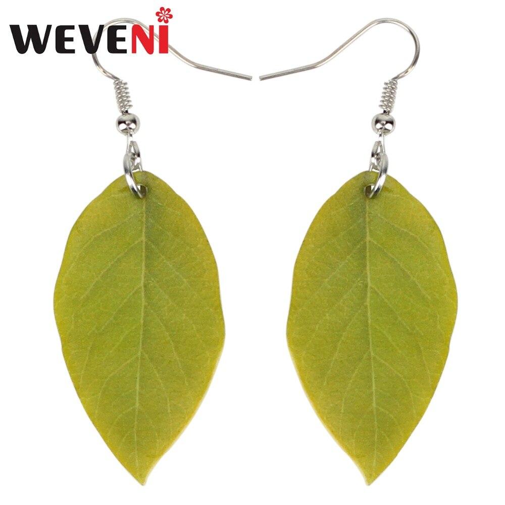Женские акриловые серьги WEVENI, длинные висячие серьги с зелеными листьями, украшения для девочек и подростков