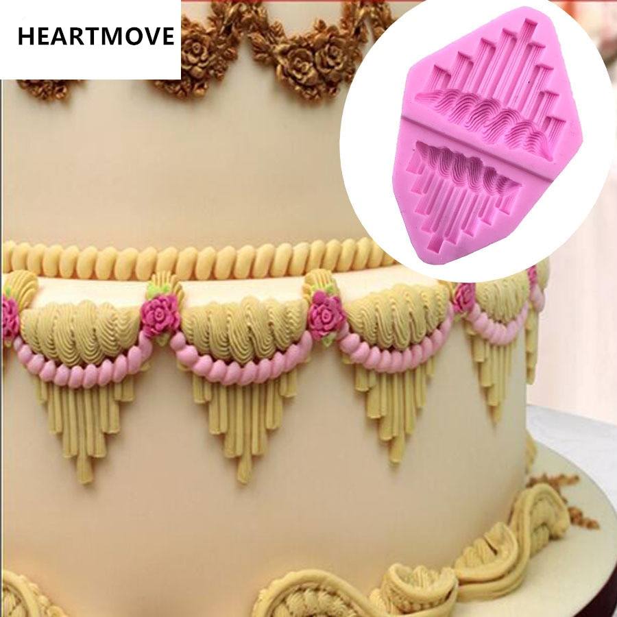 Nuevo molde de decoración de borde de encaje, moldes de pastel de Fondant, molde de Chocolate para la cocina, herramienta para decoración de pastelería 9586