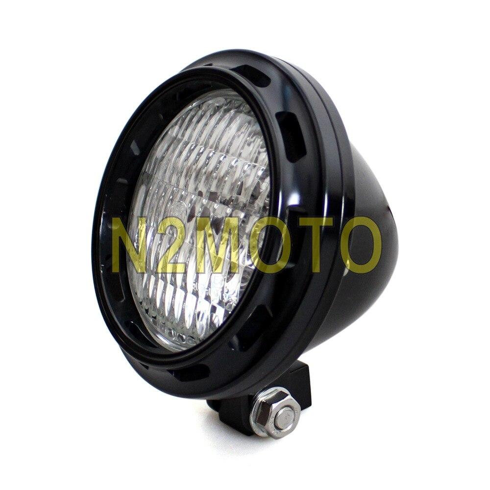 Лампа H4 в стиле ретро, черная алюминиевая фара для мотоцикла, 4 дюйма, фара для мотоцикла, фара для Harley кафе, Racer, Sportster
