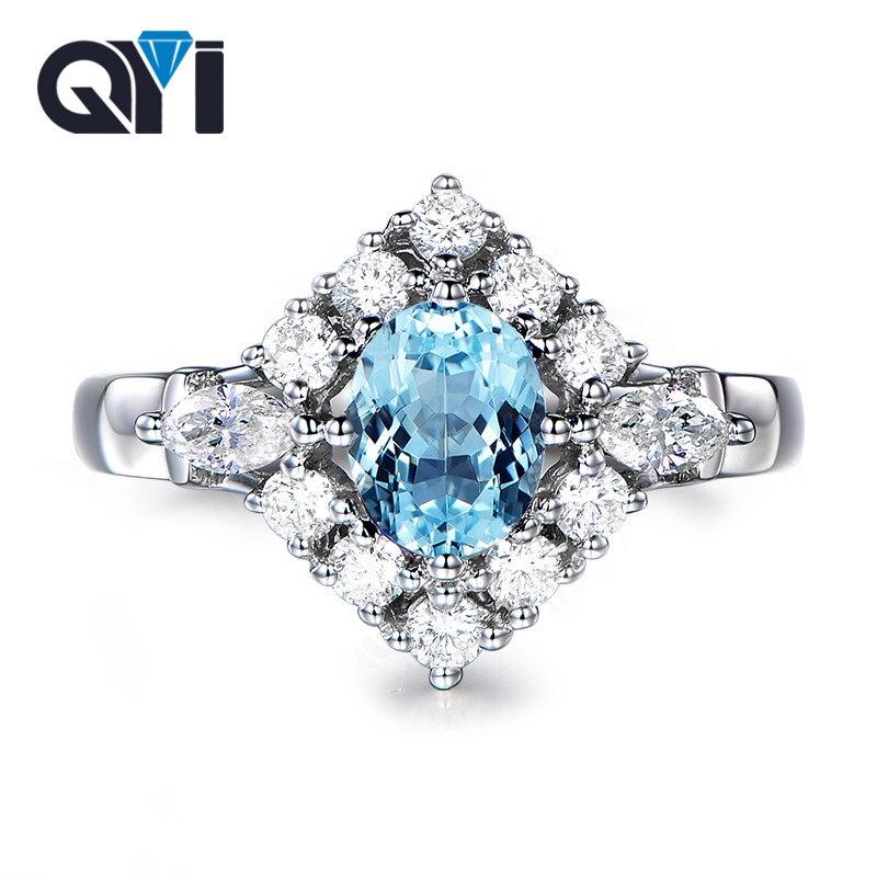 QYI Topacio Natural cielo anillos de piedras azules 1,25 ct corte ovalado 925 plata esterlina ajuste de la piedra preciosa anillo de compromiso para las mujeres