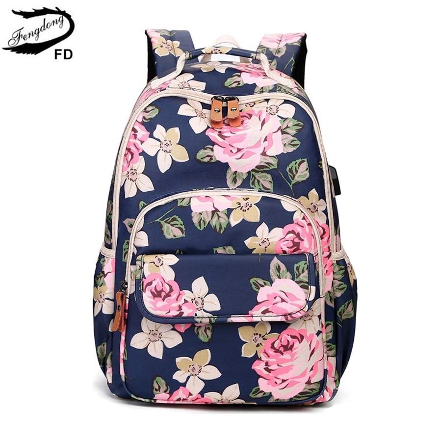 FengDong korean style women floral backpack flowers school bags for girls kids vintage printing school backpack children bookbag