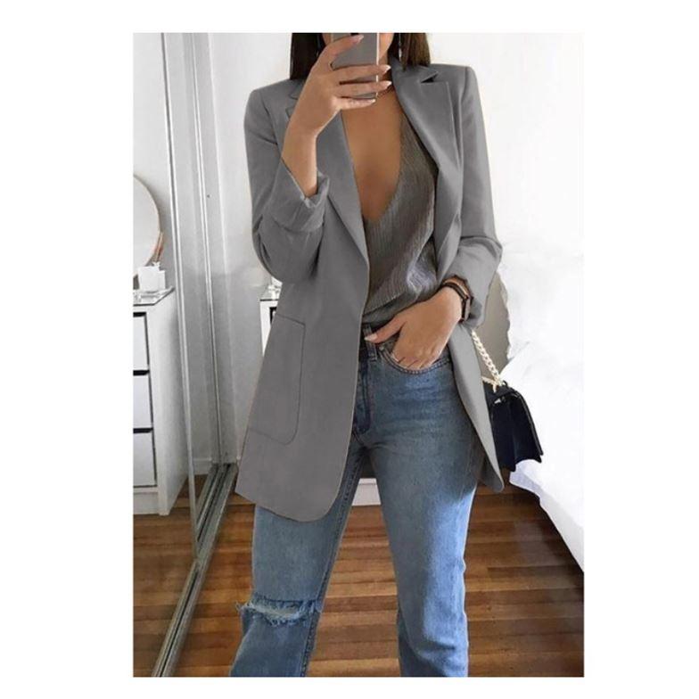 2019 Solid Blazer Mujer Promotion New Polyester Full Vadim Blazer Feminino Women Ladies Fashion Casual Suit Jacket Coat Outwear