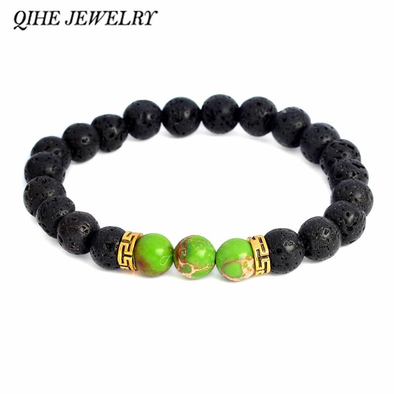 Qihe jóias de pedra pulseira lava pedra frisada pulseira masculina cura jóias presente para ele, para ela
