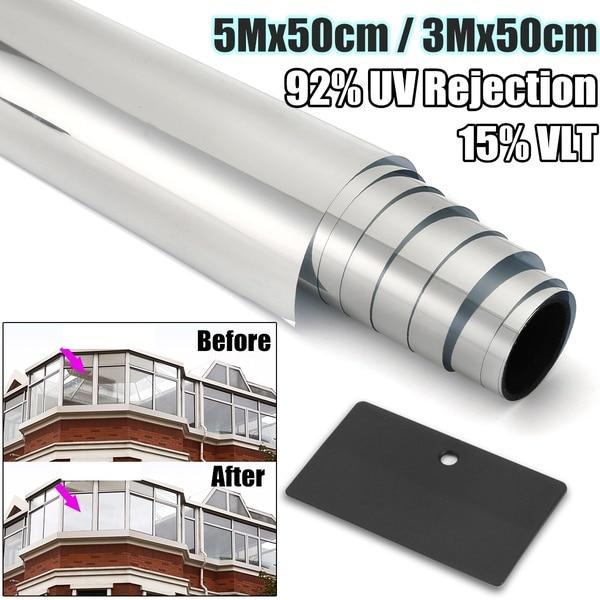 3Mx50cm / 5Mx50cm 15% VLT Chrome Silver Window Tint Film Solar Reflective Window Film One Way Privacy Tint