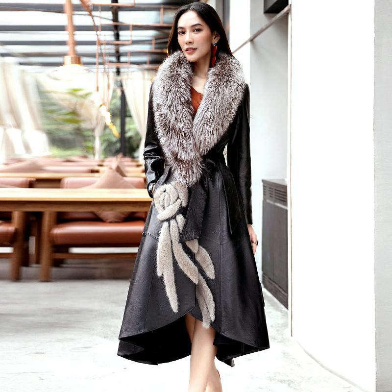 Leather Female 2020 Winter New Leather Long Coat Fashion Slim Big Fox fur Mao Lingjun Green Women's Leather Clothing D324