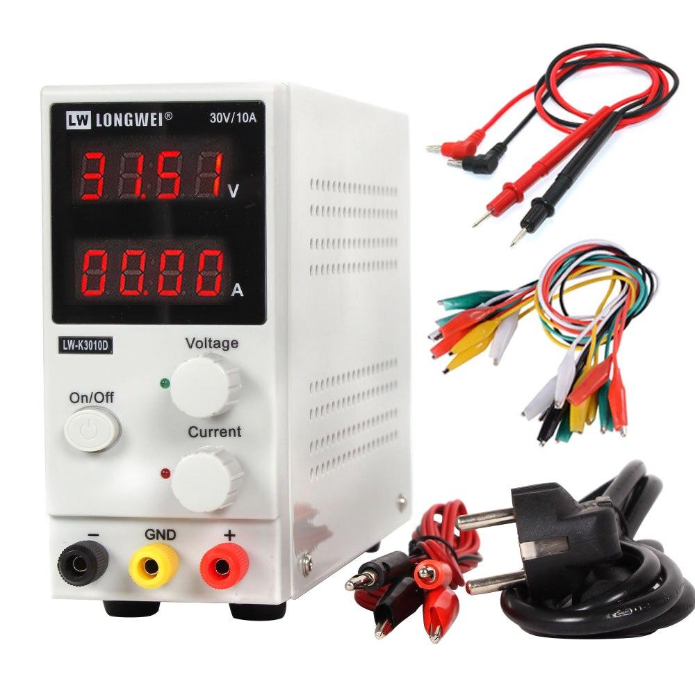 LW 3010D лабораторный Регулируемый источник питания постоянного тока 30В 10А 4-значный дисплей Регулируемый импульсный источник питания для ремонта ноутбука телефона