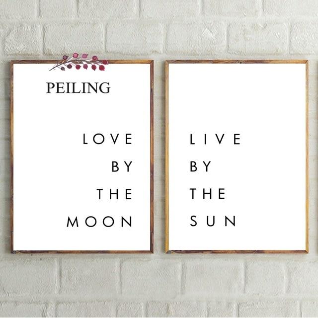 Pósteres minimalistas con frases románticas en vivo por el sol amor por la luna pintura en lienzo impresiones imágenes artísticas de pared para decoración del hogar del dormitorio