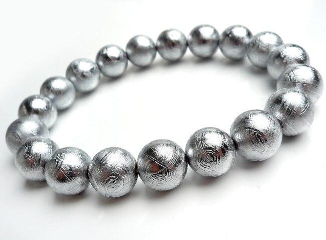 10mm Natural Gibeon meteorito Stretch Charm potente mujer hombre joyería pulseras de cuentas redondas