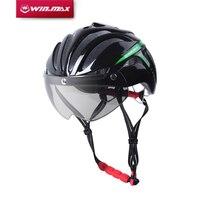 WINMAX Bicycle Cycling Helmet Ultralight Integrally-molded MTB Road Bike Helmet Goggles Helmet with Magnetic UV Visor