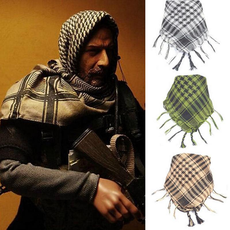 Código de seguimiento militar para hombre árabe bufandas Airsoft a prueba de viento musulmán táctico al aire libre árabe Shemagh desierto bufanda de algodón