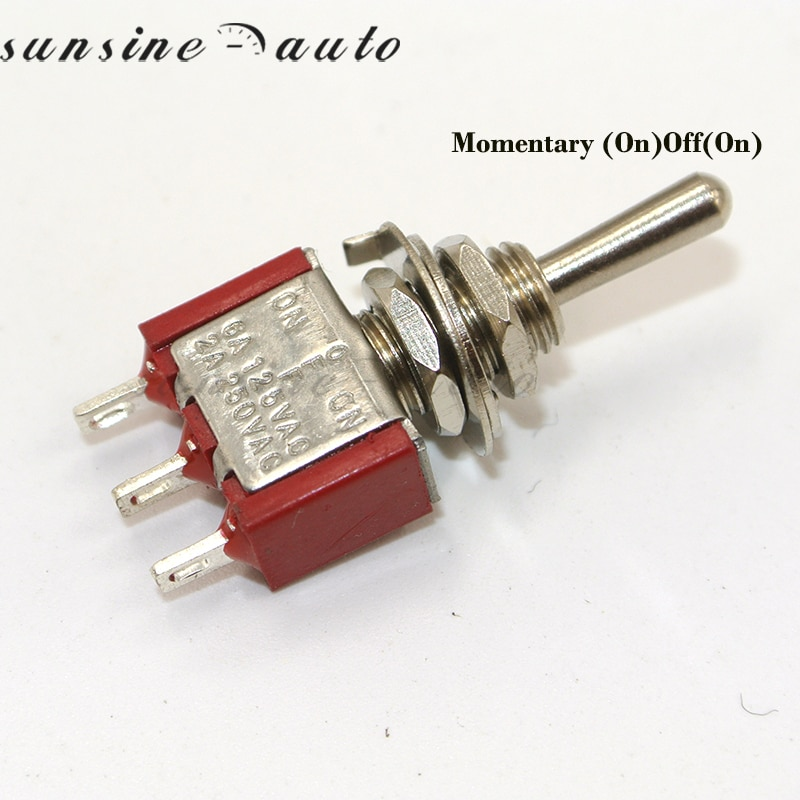 3 5 x Vermelho Pin 3 Posição (ON)-OFF-(ON) SPDT Mini Toggle Switch Momentary Retorno Automático Do Meio