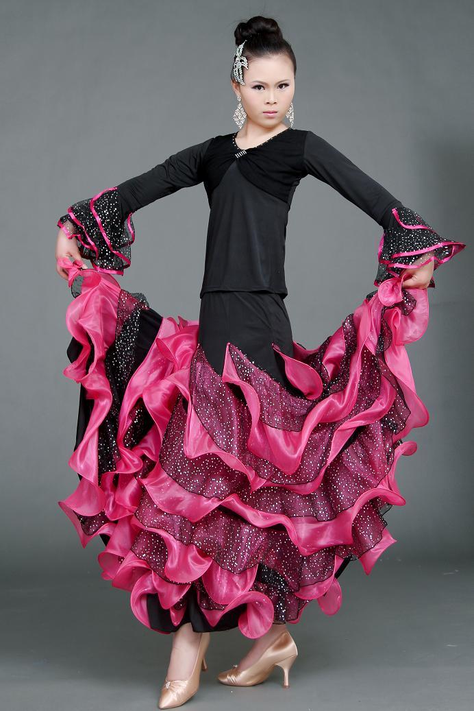 Personalizar paillette lentejuelas vals Latino salsa tango rumba Cha cha Quick step Fox trot práctica Falda de baile
