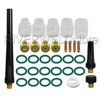 TIG Gas Lens Collet Body 0.040 1/16 3/32 1/8 & #5#6#7#8#10 Pyrex Cup Kit DB SR WP 9 20 25 TIG Welding Torch 33pcs