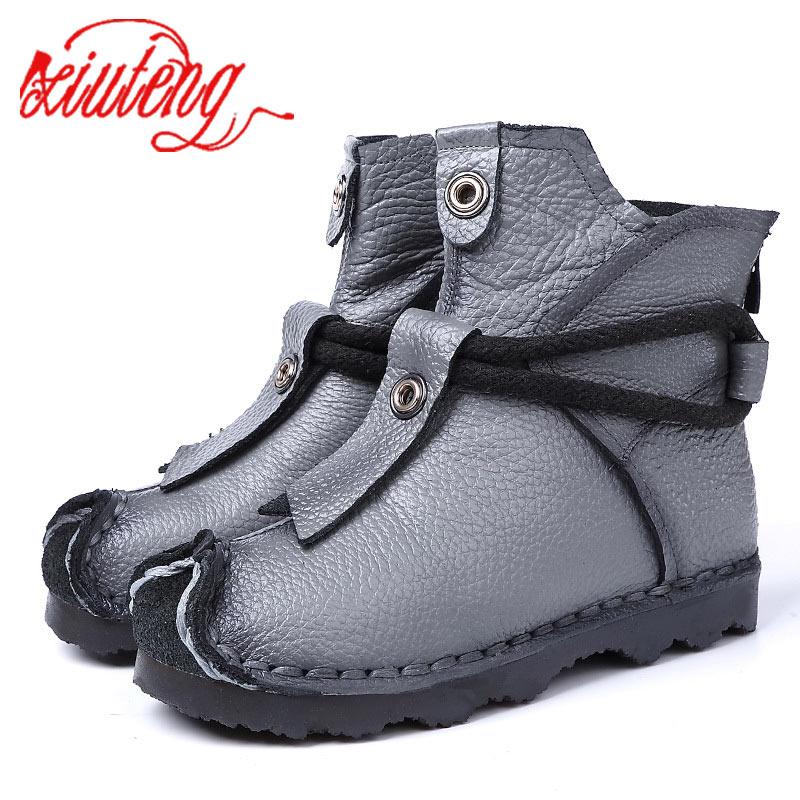Xiuteng/новые высококачественные ботильоны из натуральной кожи; Модные женские ботинки; Короткие ботинки; Зимние женские ботинки на плоской подошве фиолетового, серого цвета
