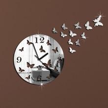 11 Butterflies Sculpture Art Mordern Luxury Design DIY 3D Crystal Mirror Wall Clock Wall Sticker Living Room Bedroom Decor