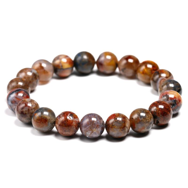 Pulsera de piedra Natural Pietersite redonda 6MM 8MM 10MM para Mujeres Hombres brazalete Unisex meditación ágata energética joyas para parejas regalo