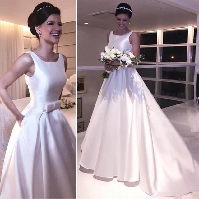 Promo Simple White Satin Wedding Dresses A Line bow Floor Length Sleeveless Charming Bridal Dress wedding gowns Vestido De Casamento